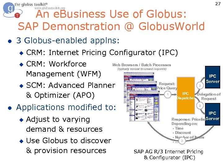 27 An e. Business Use of Globus: SAP Demonstration @ Globus. World l 3