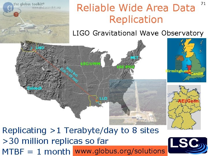Reliable Wide Area Data Replication 71 LIGO Gravitational Wave Observatory Birmingham • §Cardiff AEI/Golm