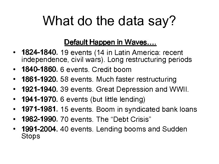 What do the data say? • • Default Happen in Waves…. 1824 -1840. 19