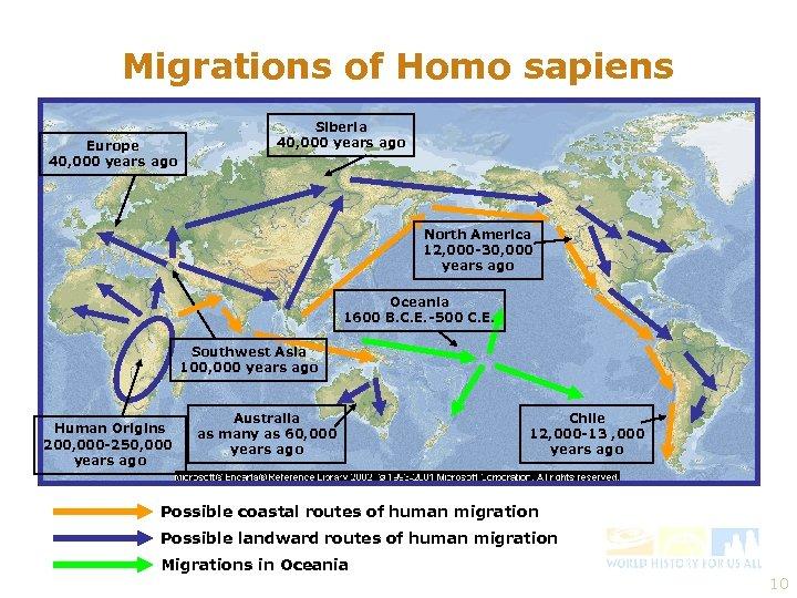 Migrations of Homo sapiens Europe 40, 000 years ago Siberia 40, 000 years ago