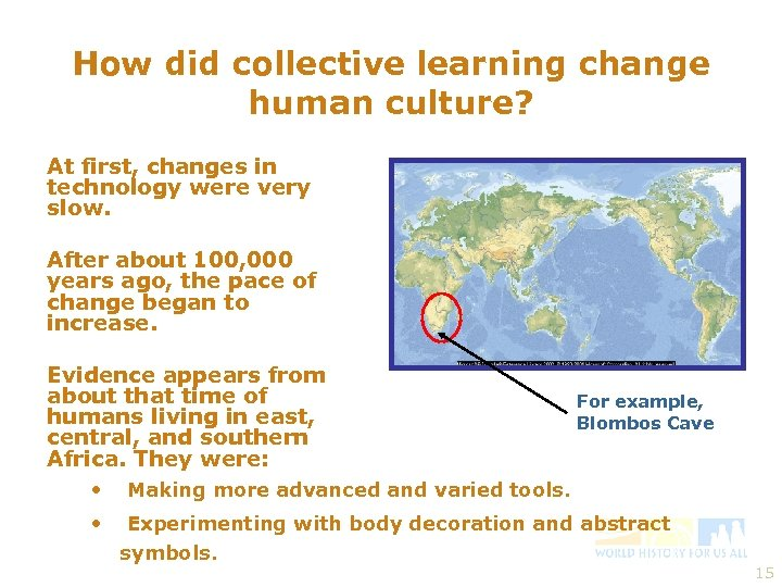 How did collective learning change human culture? At first, changes in technology were very