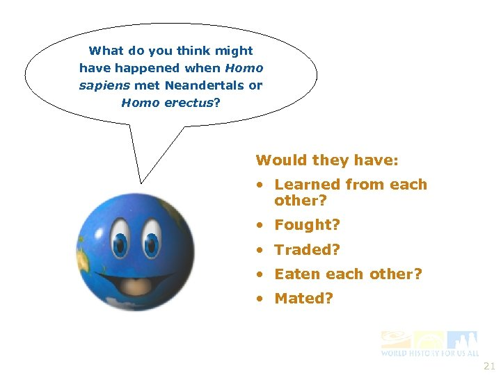 What do you think might have happened when Homo sapiens met Neandertals or Homo