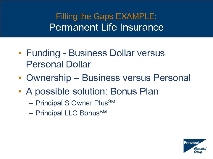 Filling the Gaps EXAMPLE: Permanent Life Insurance • Funding - Business Dollar versus Personal