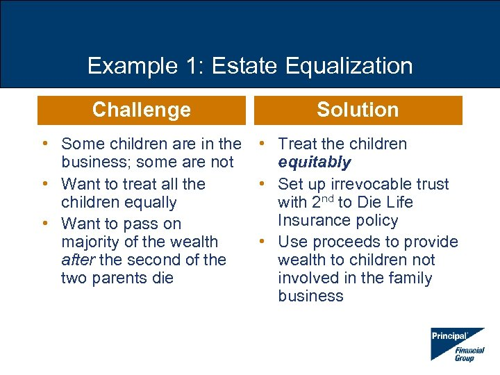 Example 1: Estate Equalization Challenge Solution • Some children are in the • Treat