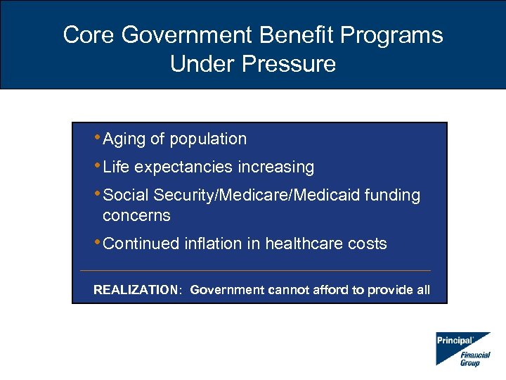Core Government Benefit Programs Under Pressure • Aging of population • Life expectancies increasing