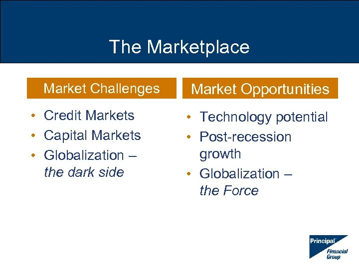 The Marketplace Market Challenges • Credit Markets • Capital Markets • Globalization – the