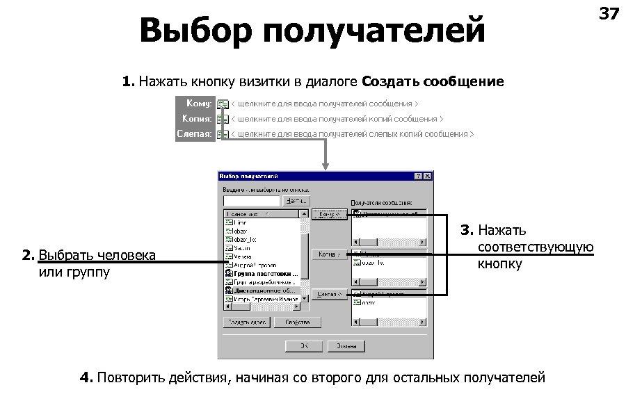 Выбор получателей 1. Нажать кнопку визитки в диалоге Создать сообщение 2. Выбрать человека или