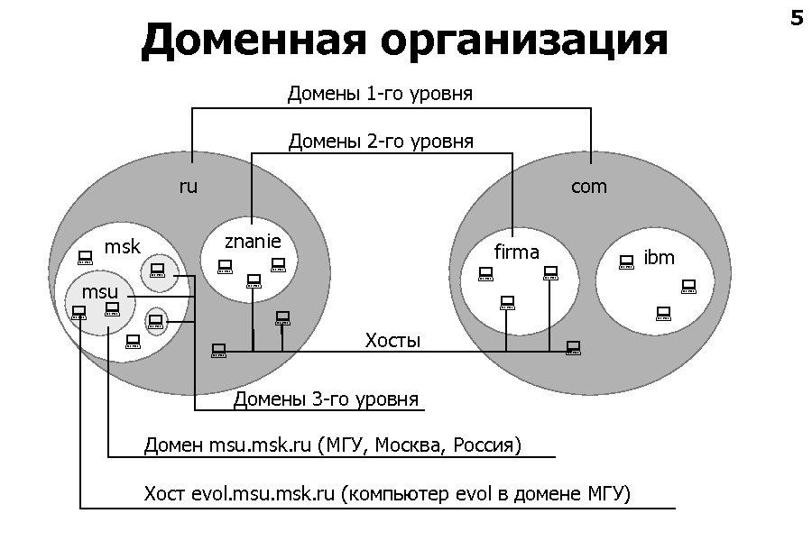 5 Доменная организация Домены 1 -го уровня Домены 2 -го уровня ru msk msu