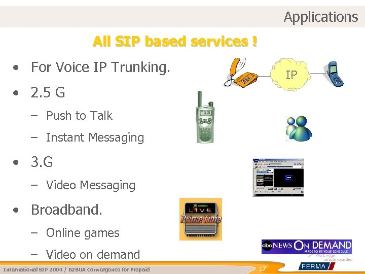 Applications All SIP based services ! • For Voice IP Trunking. IP • 2.