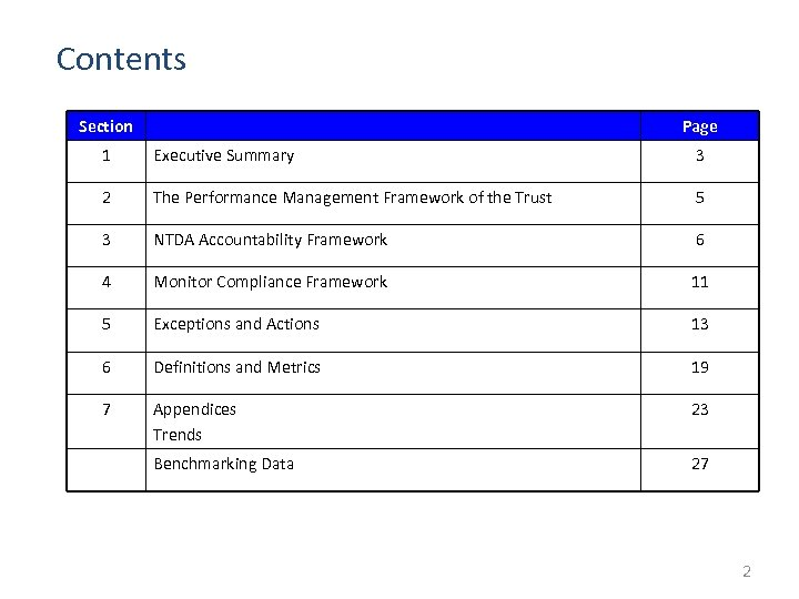 Contents Section Page 1 Executive Summary 3 2 The Performance Management Framework of the