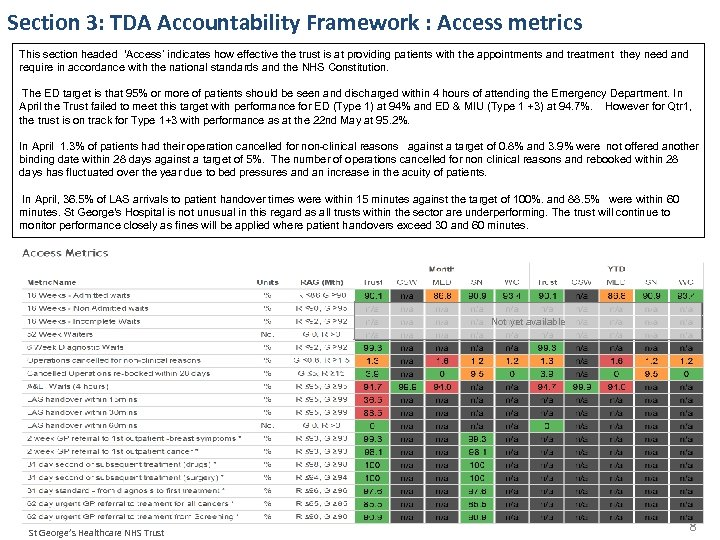 Section 3: TDA Accountability Framework : Access metrics This section headed 'Access' indicates how