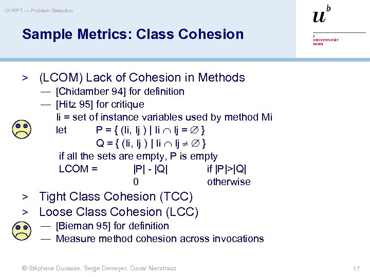 OORPT — Problem Detection Sample Metrics: Class Cohesion > (LCOM) Lack of Cohesion in