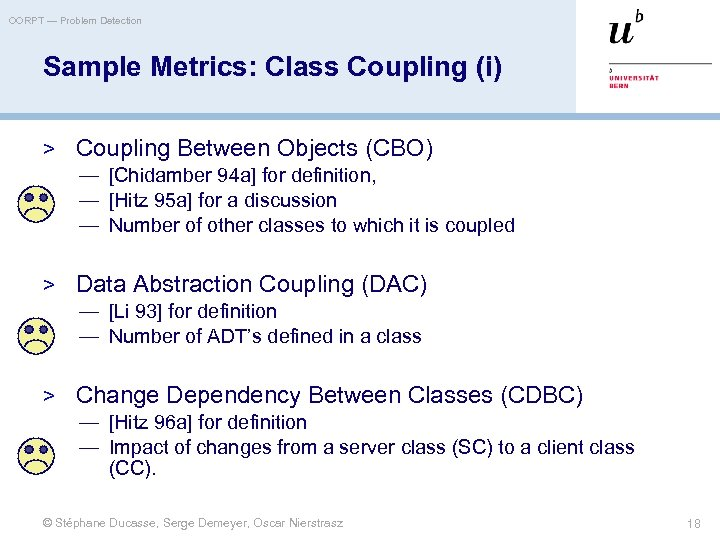 OORPT — Problem Detection Sample Metrics: Class Coupling (i) > Coupling Between Objects (CBO)