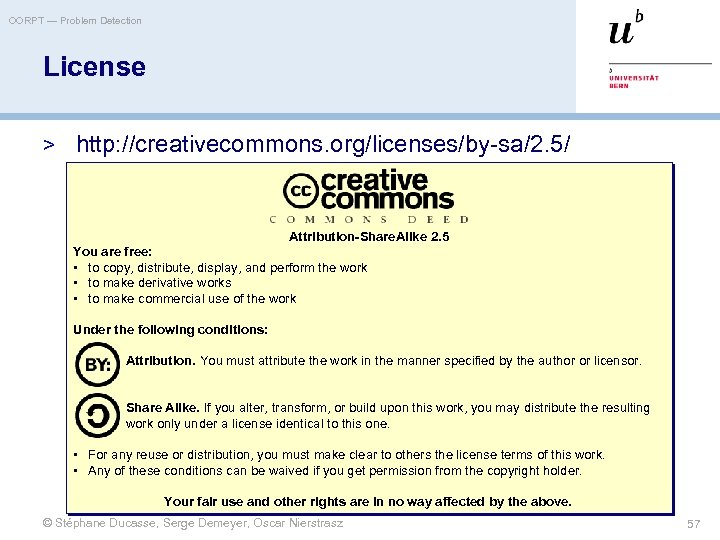 OORPT — Problem Detection License > http: //creativecommons. org/licenses/by-sa/2. 5/ Attribution-Share. Alike 2. 5