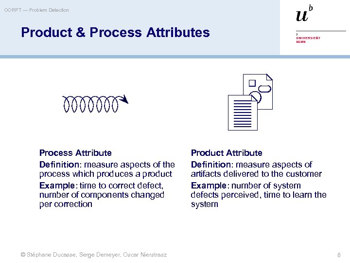 OORPT — Problem Detection Product & Process Attributes Process Attribute Definition: measure aspects of