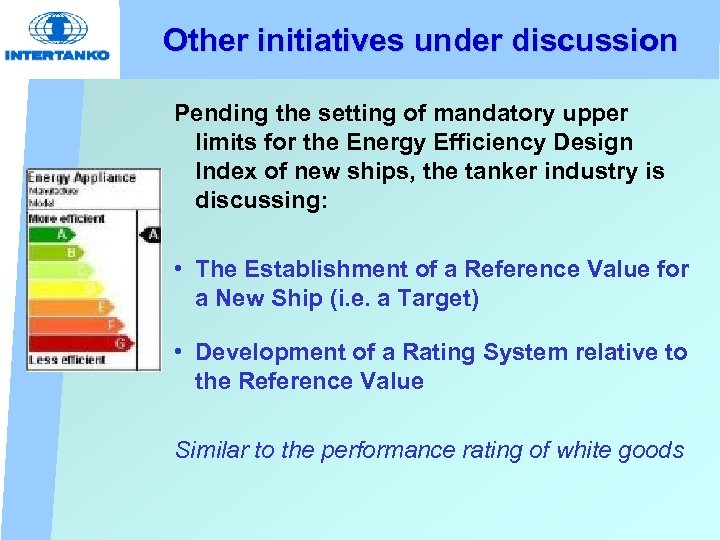 Other initiatives under discussion Pending the setting of mandatory upper limits for the Energy