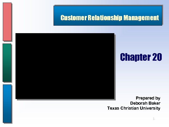 Customer Relationship Management Chapter 20 Prepared by Deborah Baker Texas Christian University 1