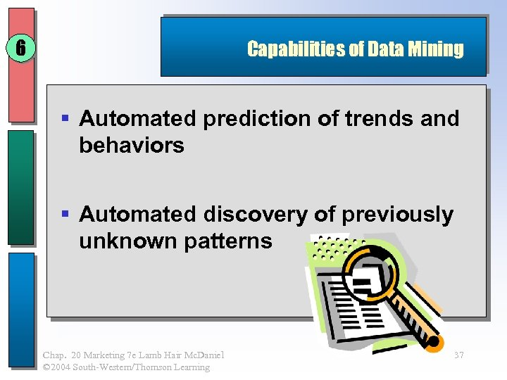 6 Capabilities of Data Mining § Automated prediction of trends and behaviors § Automated