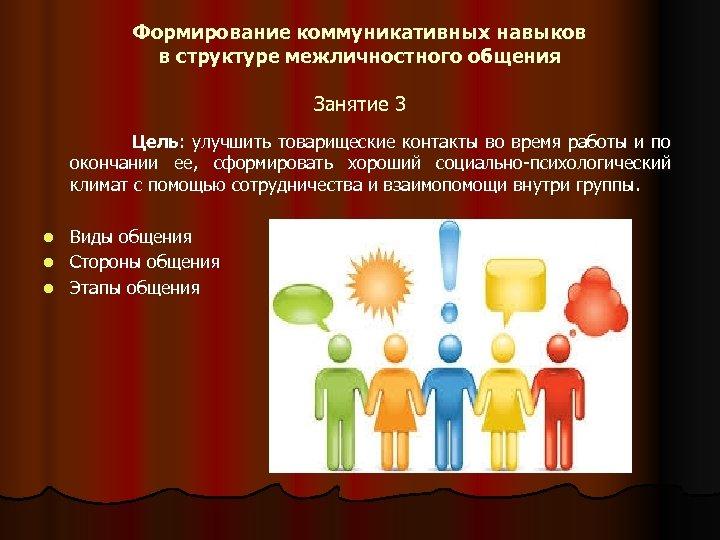 Формирование коммуникативных навыков в структуре межличностного общения Занятие 3 Цель: улучшить товарищеские контакты во