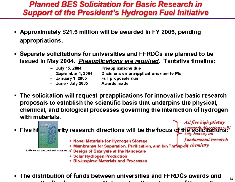 Planned BES Solicitation for Basic Research in Support of the President's Hydrogen Fuel Initiative