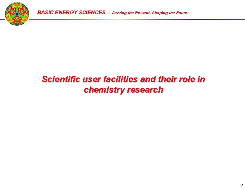 BASIC ENERGY SCIENCES -- Serving the Present, Shaping the Future Scientific user facilities and