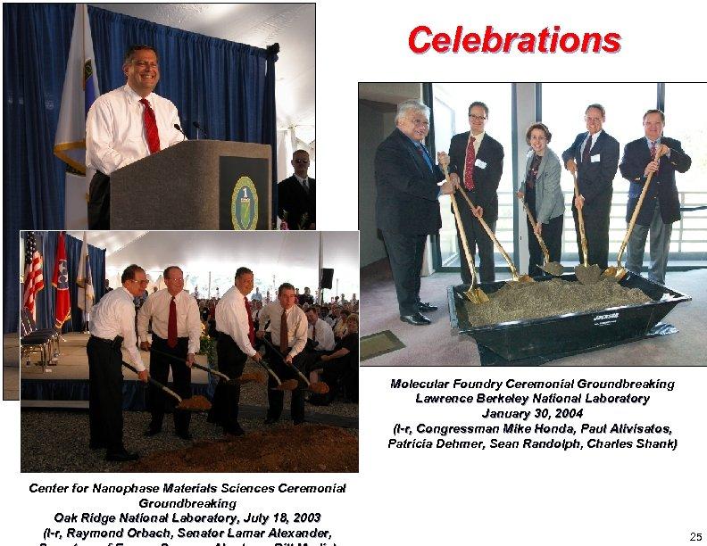 Celebrations Molecular Foundry Ceremonial Groundbreaking Lawrence Berkeley National Laboratory January 30, 2004 (l-r, Congressman