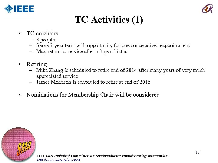 TC Activities (1) • TC co-chairs – 3 people – Serve 3 year term