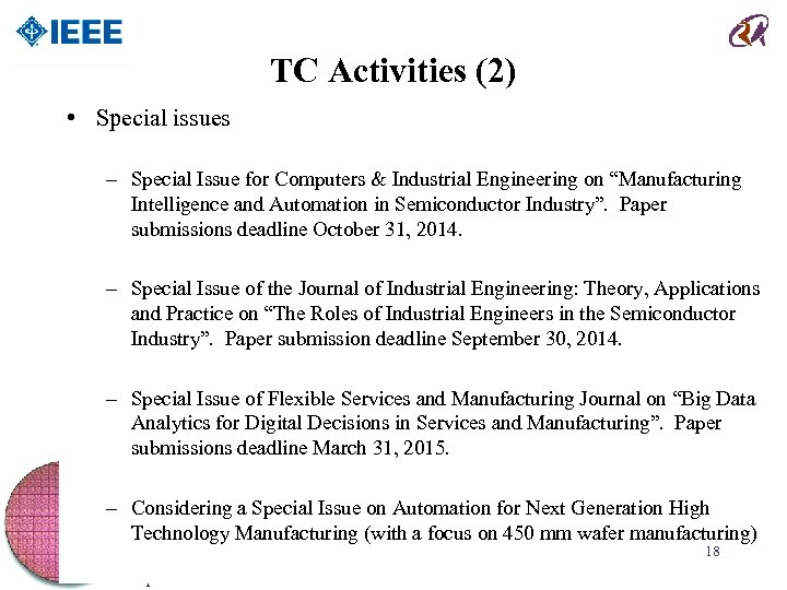 TC Activities (2) • Special issues – Special Issue for Computers & Industrial Engineering