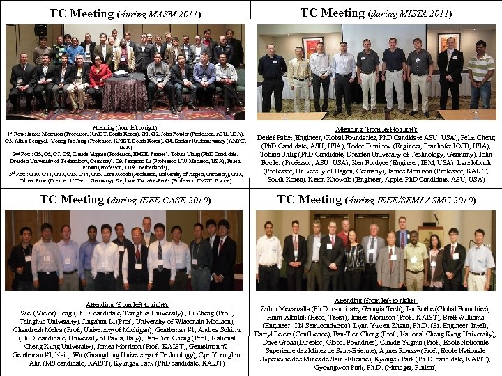 TC Meeting (during MASM 2011) TC Meeting (during MISTA 2011) Attending (from left to