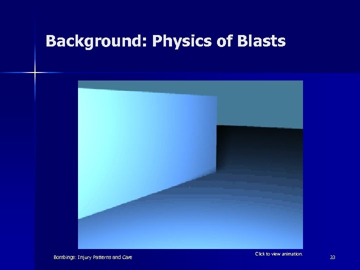 Background: Physics of Blasts Bombings: Injury Patterns and Care Click to view animation. 33