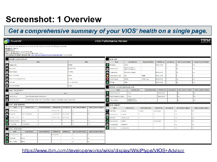 Screenshot: 1 Overview Get a comprehensive summary of your VIOS' health on a single