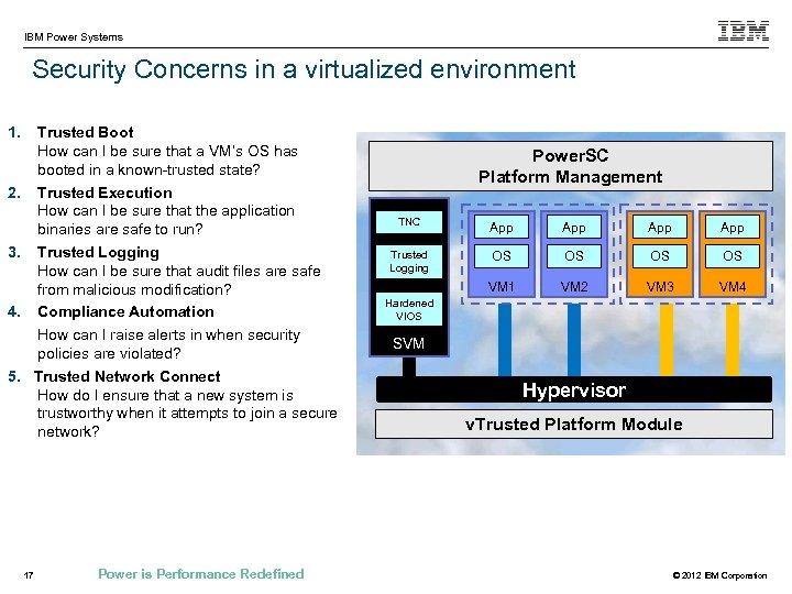IBM Power Systems Security Concerns in a virtualized environment 1. 2. 3. 4. 5.