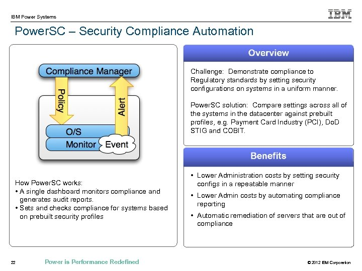 IBM Power Systems Power. SC – Security Compliance Automation Challenge: Demonstrate compliance to Regulatory