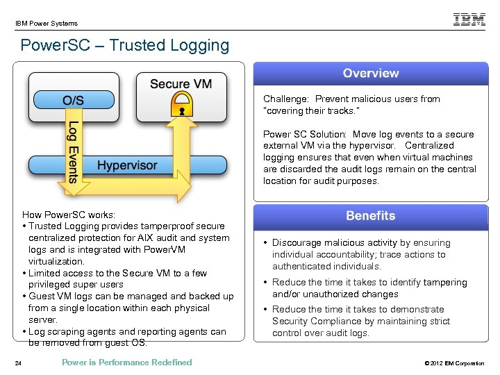 """IBM Power Systems Power. SC – Trusted Logging Challenge: Prevent malicious users from """"covering"""