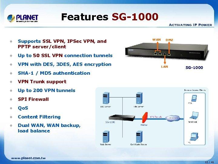 Features SG-1000 l Supports SSL VPN, IPSec VPN, and PPTP server/client l VPN with