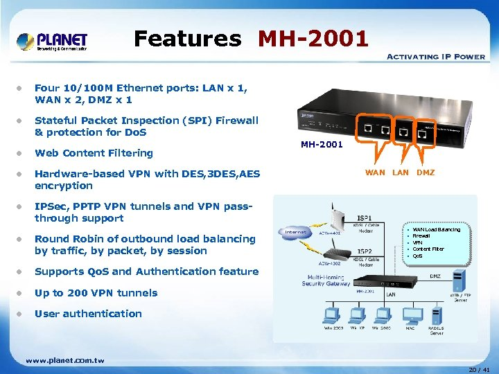 Features MH-2001 l Four 10/100 M Ethernet ports: LAN x 1, WAN x 2,