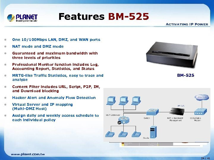 Features BM-525 l One 10/100 Mbps LAN, DMZ, and WAN ports l NAT mode