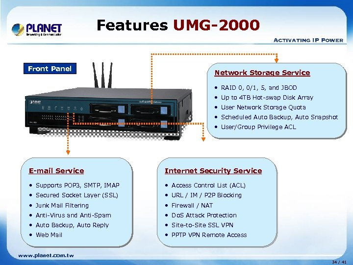 Features UMG-2000 Front Panel Network Storage Service • RAID 0, 0/1, 5, and JBOD