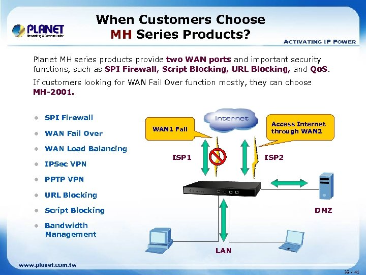 When Customers Choose MH Series Products? Planet MH series products provide two WAN ports