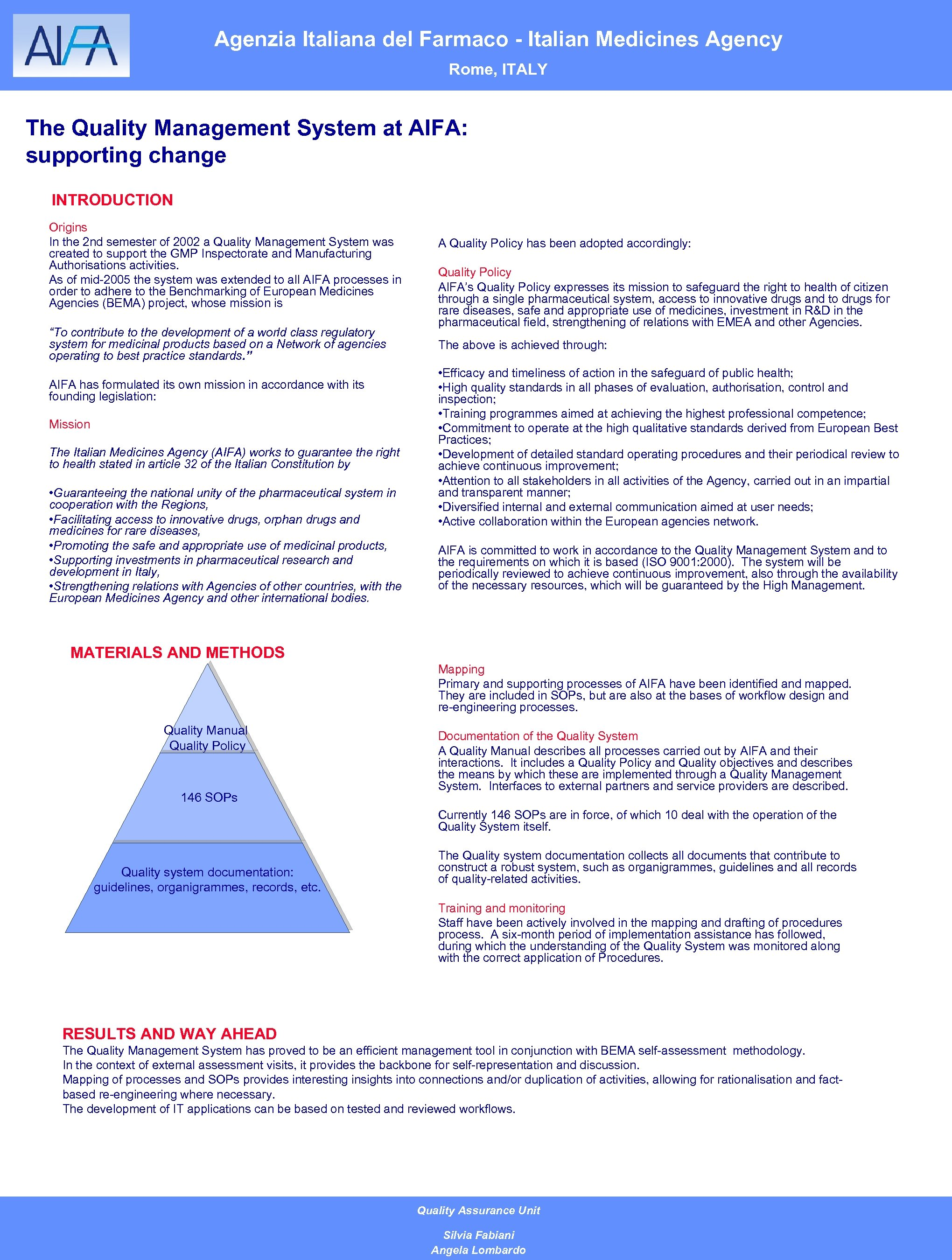 Agenzia Italiana del Farmaco - Italian Medicines Agency Rome, ITALY The Quality Management System