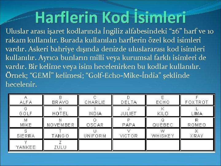 """Harflerin Kod İsimleri Uluslar arası işaret kodlarında İngiliz alfabesindeki """" 26"""" harf ve 10"""