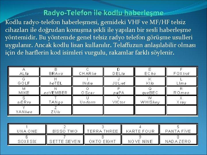Radyo-Telefon ile kodlu haberleşme Kodlu radyo-telefon haberleşmesi, gemideki VHF ve MF/HF telsiz cihazları ile