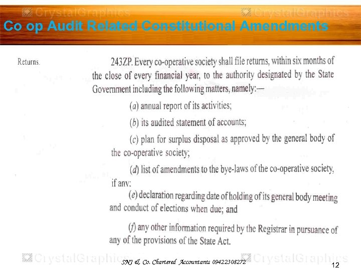 Co op Audit Related Constitutional Amendments SNJ & Co. Chartered Accountants 09422308272 12