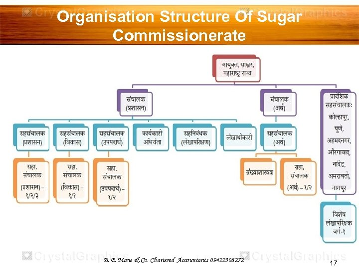 Organisation Structure Of Sugar Commissionerate B. B. Mane & Co. Chartered Accountants 09422308272 17