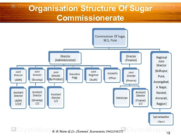 Organisation Structure Of Sugar Commissionerate B. B. Mane & Co. Chartered Accountants 09422308272 18