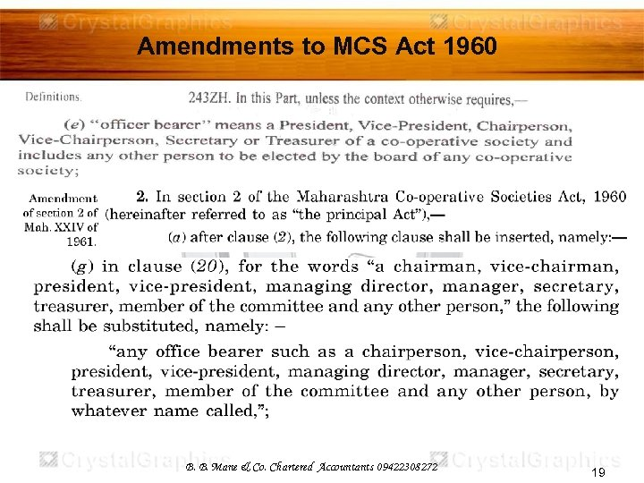 Amendments to MCS Act 1960 B. B. Mane & Co. Chartered Accountants 09422308272 19