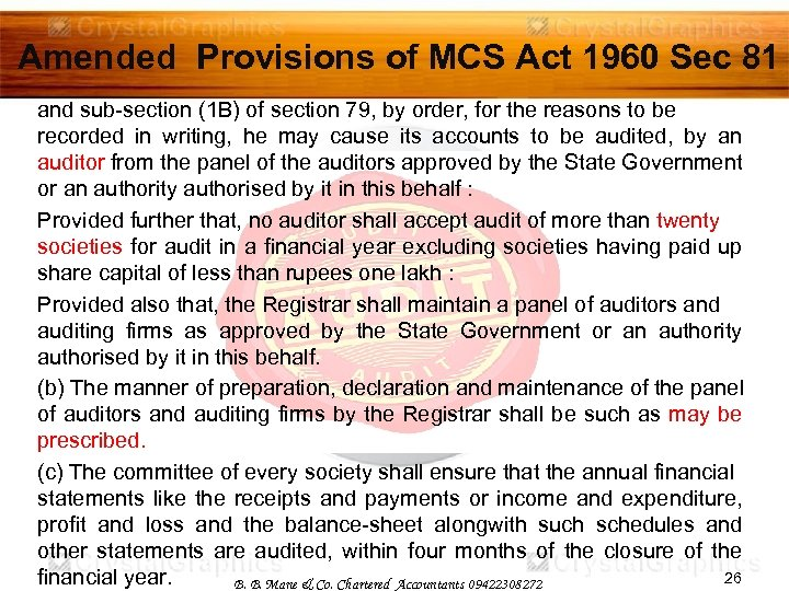 Amended Provisions of MCS Act 1960 Sec 81 and sub-section (1 B) of section