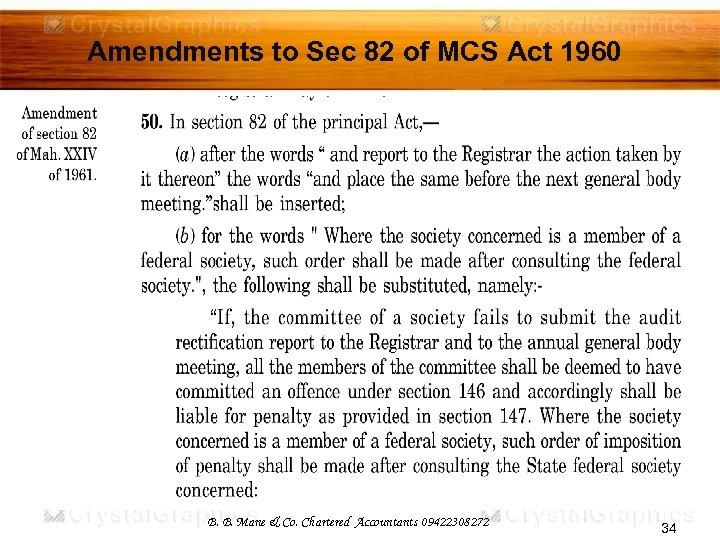 Amendments to Sec 82 of MCS Act 1960 B. B. Mane & Co. Chartered
