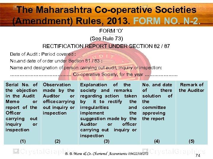 The Maharashtra Co-operative Societies (Amendment) Rules, 2013. FORM NO. N-2. FORM 'O' (See Rule