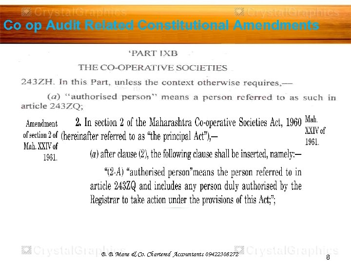 Co op Audit Related Constitutional Amendments B. B. Mane & Co. Chartered Accountants 09422308272